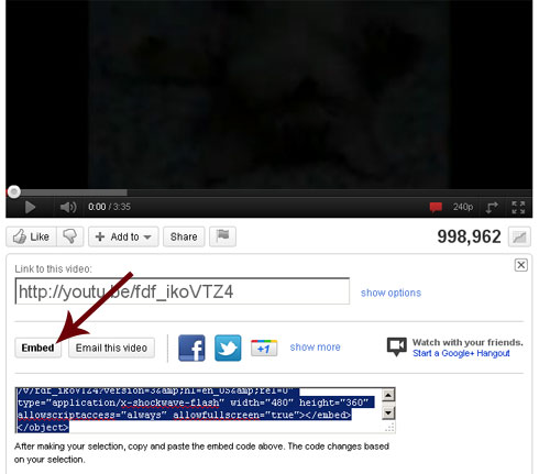 Embedding youtube videos