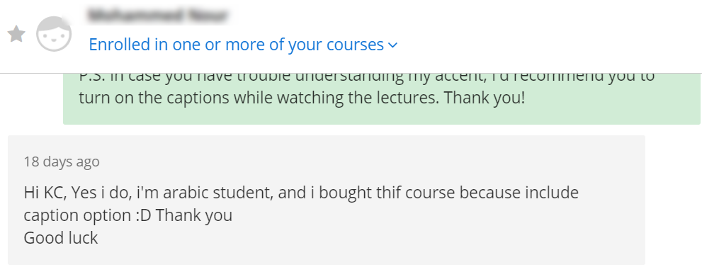 sign up because of udemy course captions