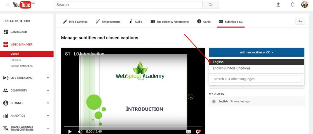 udemy course add captions