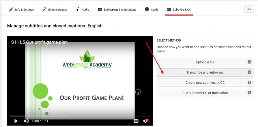 create subtitles for udemy course